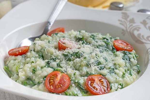 Gorgonzola Risotto mit Spinat