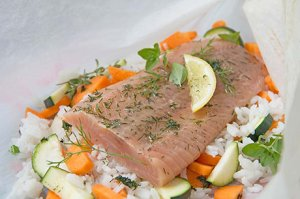Lachs im Backpapier
